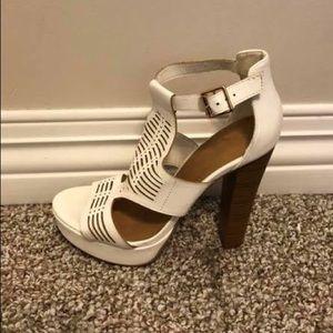 White Lasercut Platform Strap Heels